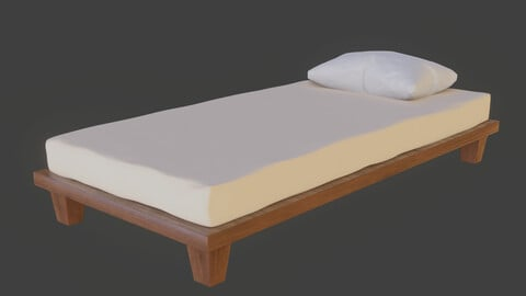 Single Bed with separate Pillow 3D model