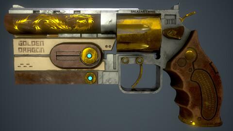 Game Ready Sci-Fi Revolver (Golden Dragon) + Animation