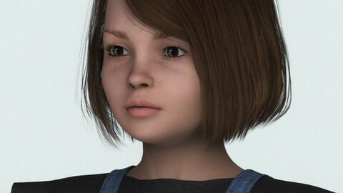 Beautiful Child Little Girl 3D Character