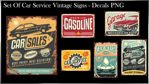 Set Of Car Service Vintage Signs - Decal PNG