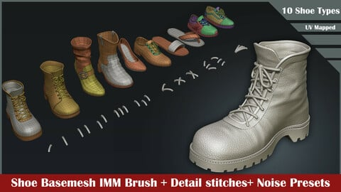 10 Shoes Basemesh IMM Brush+ Stitch Detailing Brush and Noise details