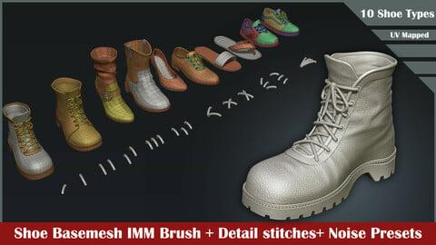 10 Shoes Basemesh IMM Brush+ Stitch Detailing Brush and Noise details