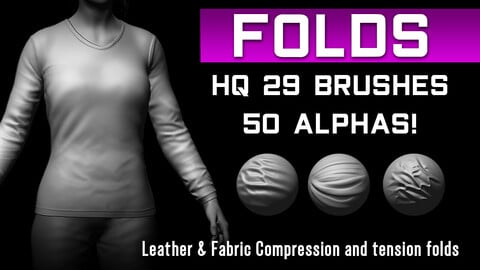 29 HQ Brushes -  Fabric Compression Wrinkles Folds