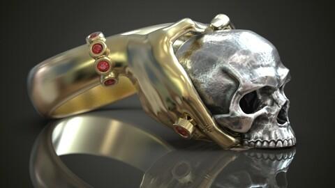Hands skull ring
