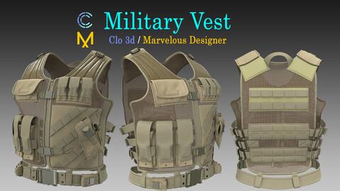 Military Vest / Marvelous Designer, Clo3d project