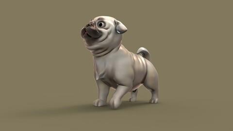 PUG Dog - Medium poly