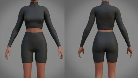 3D Biker shorts and turtleneck sweater set - 2 piece outfit