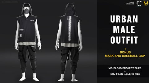 Urban male outfit + bonus mask and baseball cap   /MD/Clo3d project + OBJ + .BLEND file