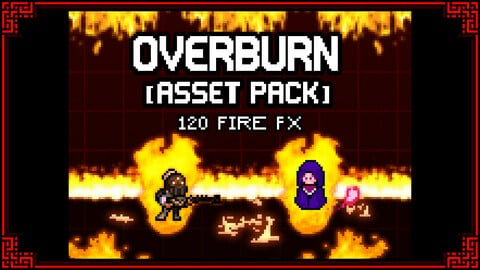 [ASSET PACK] OVERBURN FX - 120 Pixelart Fire Effects + Animated Characters Sprites