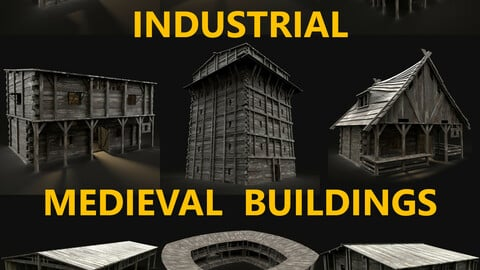 MEDIEVAL INDUSTRAIL FANTASY TOWN VILLAGE BUILDINGS COLLECTION