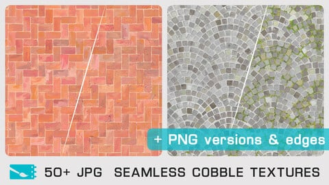 SEAMLESS COBBLE TEXTURES - Traditional painting pack - 50+ JPG & FREE PNG version + Edges + 1 bonus PSD