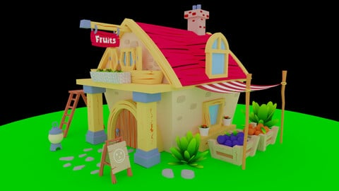 A small scene with a low poly model of a house.