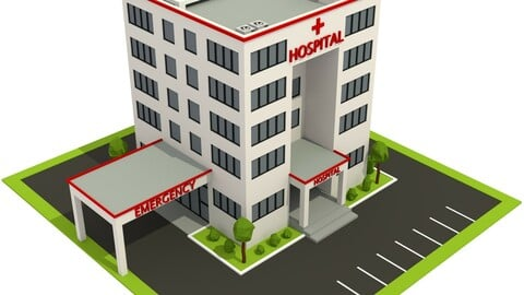 Isometric Cartoon Low Poly Hospital Building 3D model Low-poly 3D model
