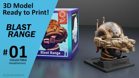 Blast Range Collectible HeadHelmets #01 Ready for 3D Print