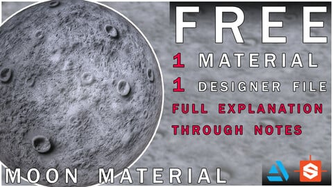 PBR Moon Material + Designer File with notes + SBS