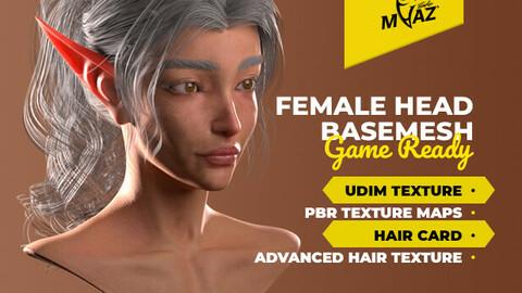Female Head Basemesh Low-poly 3D model