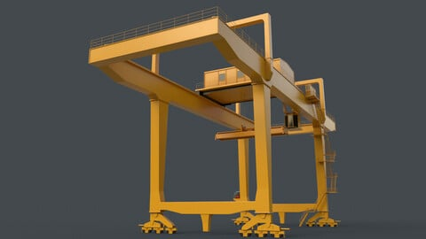 PBR Rail Mounted Gantry Crane RMG V1 - Yellow