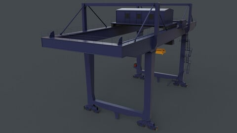 PBR Rail Mounted Gantry Crane RMG V2 - Blue Dark