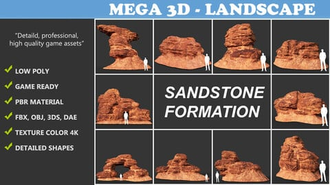 Low poly Sandstone Rock Formation - 210127