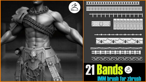 21 IMM brush bands for Zbrush