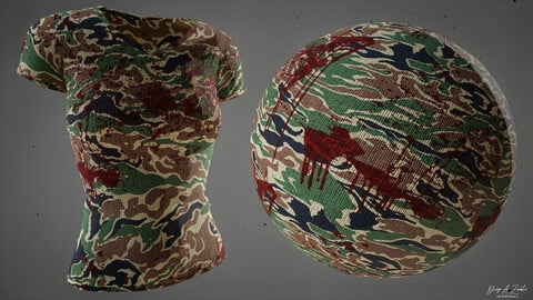 PBR  FABRIC CAMOUFLAGE PACK (3 STYLES - CLEAN / BLOODY / DIRTY MUD) 4K MATERIAL