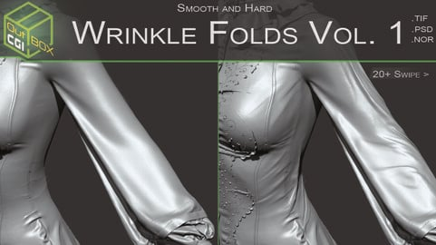 Wrinkle Folds Vol.1 - 4k Compression, Tension and Wrinkle Brushes