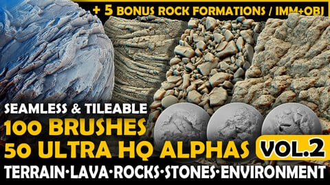 Ultra HQ Terrain / Rock Seamless Sculpt Zbrush brushes + Alphas (Blender, Substance, etc.) Vol.2