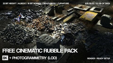 Free 8k Rubble 21 assets pack | Cinematic LOD | 32\16 bit