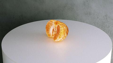 Half Peeled Mandarin Orange [3d Scan Model: Food / Fruit]