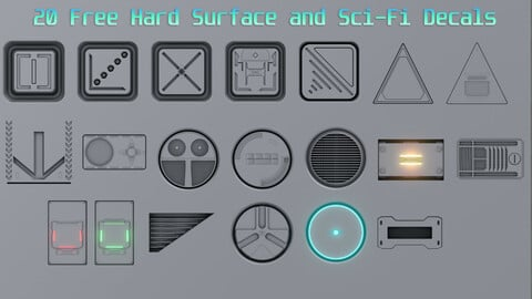 Jon3D's 20 Free Hard Surface and Sci-Fi Decal Pack