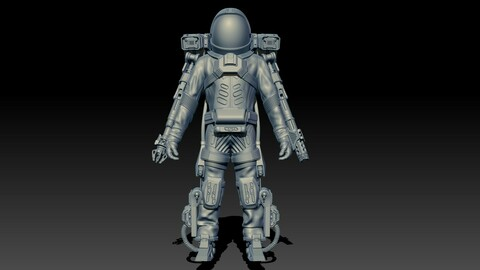 Si-fi spacesuit High-poly