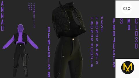 GENESIS 8 FEMALE VEST SET: CLO3D, MARVELOUS DESIGNER 3 PROJECTS+GARMENT FILES| +OBJ +FBX
