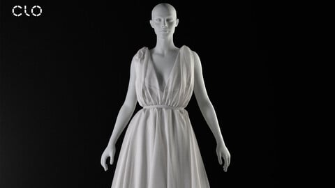 Antique dress -Marvelous Designer Clo3d project + OBJ files