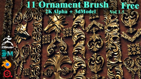 11 Free Ornament Brush & Alpha & 3dModel