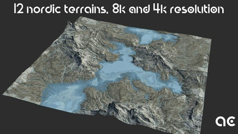 Nordic Terrains Collection | 12 Terrains at 8k resolution, Height map+Texture+Mesh