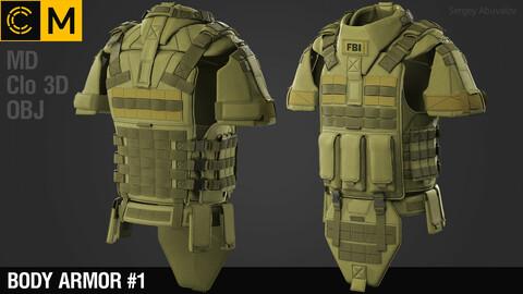 Body armor #1 / Marvelous Designer / Clo3d + obj