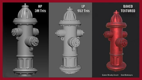 Fire Hydrant - 3D Game Asset with Red & Yellow Textures