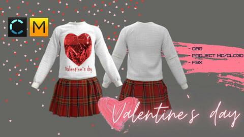 Valentine`s day (sweatshirt + skirt)