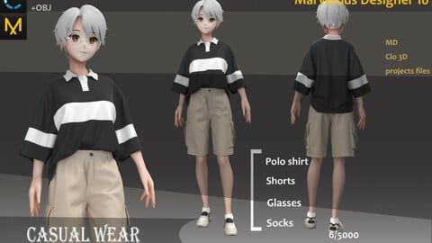 Men's Sportswear_Casual Outfit_Female Outfit_ Marvelous Designer, CLO3D