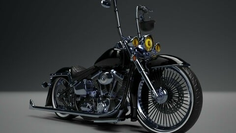Custom Motorcycle Lowrider Style Game Ready