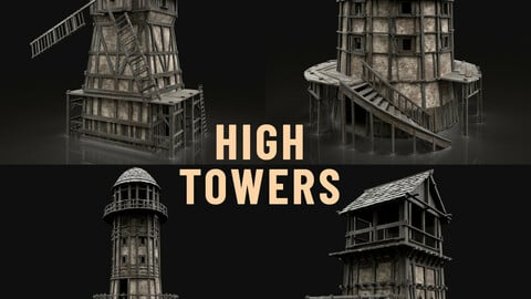 ENTERABLE HIGH TOWER WATCHTOWER COLLECTION BUILDINGS