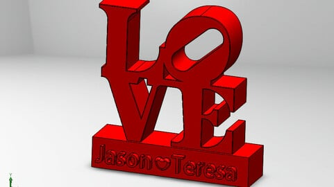 3D Model LOve - Valentine's day gift for couples - date night takeout - 3d printed - new home gift