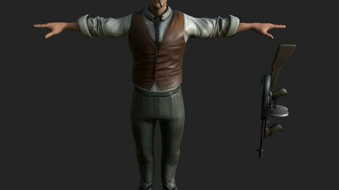 mafia man animated gameready realistic model Low-poly 3D model