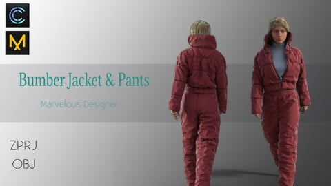 Bomber Jacket & Pants - Marvelous Designer & CLO3d Projects-OBJ