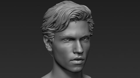 Male Head with Hair Sculpt
