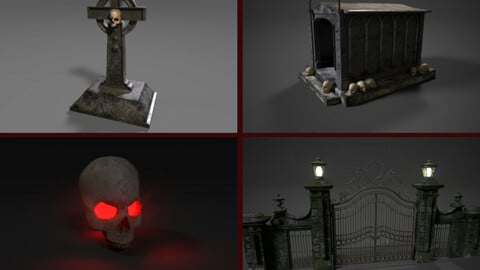 Cemetery Assets Pack Gameready Low Poly