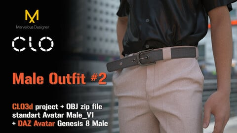 Male Outfit - shirt and trousers with a belt. Two project files for two avatars Clo3d +Daz