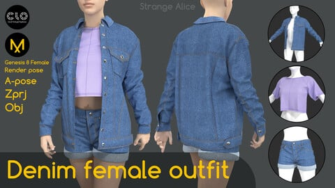 Denim female outfit. Clo3d, Marvelous Designer projects.