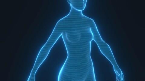 Human Hologram Female 3D Model