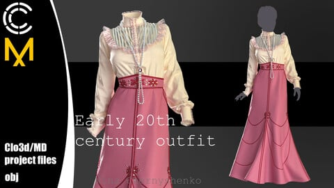 Early 20th century outfit. Marvelous Designer, Clo3d project + OBJ.